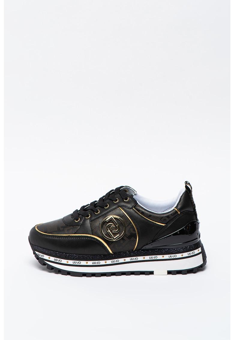 Pantofi sport cu talpa wedge si insertii din piele Maxi Wonder