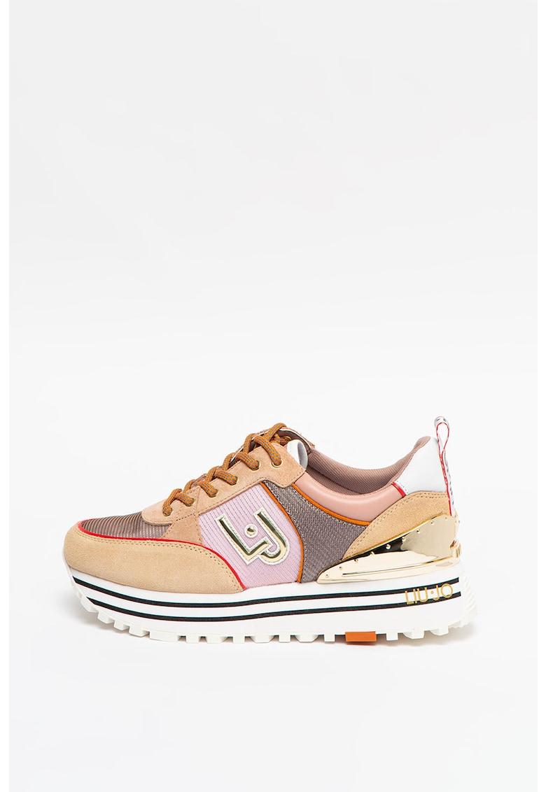 Pantofi sport de piele cu garnituri de piele intoarsa Maxi Wonder