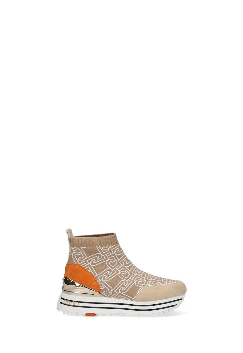 Pantofi sport slip-on wedge cu model tip soseta