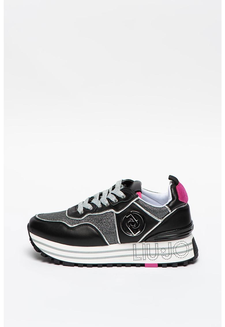 Pantofi sport de piele ecologica cu insertii de piele