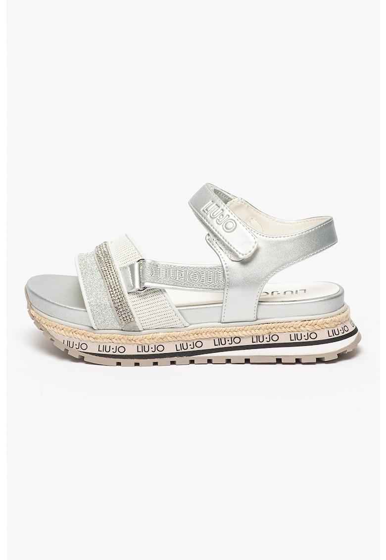 Sandale cu velcro si strasuri