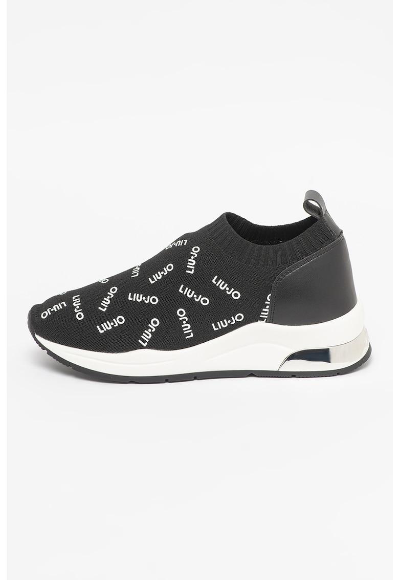 Pantofi sport slip-on cu imprimeu logo