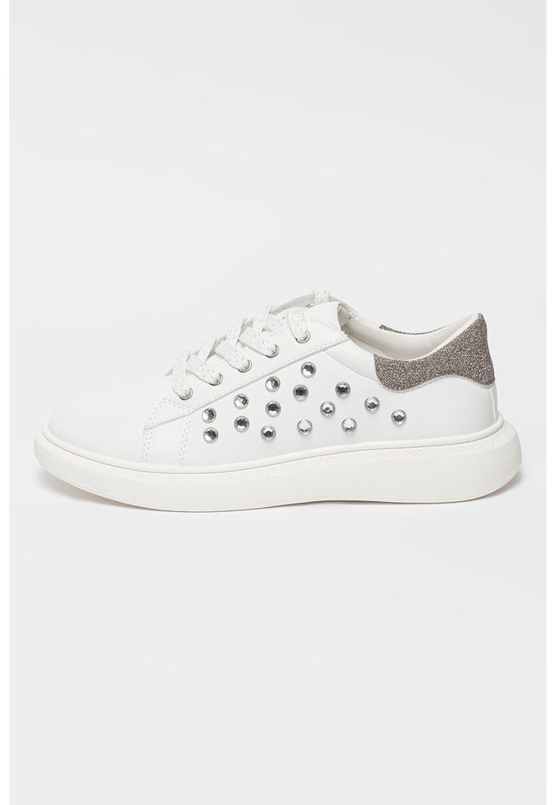 Pantofi sport de piele ecologica si strasuri