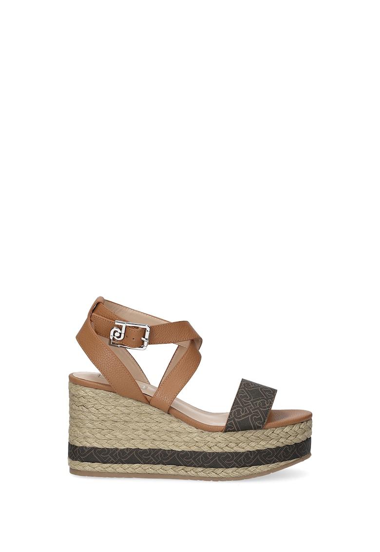 Sandale wedge tip espadrile de piele ecologica si piele