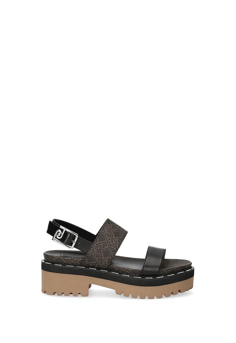 Sandale slingback de piele si piele ecologica