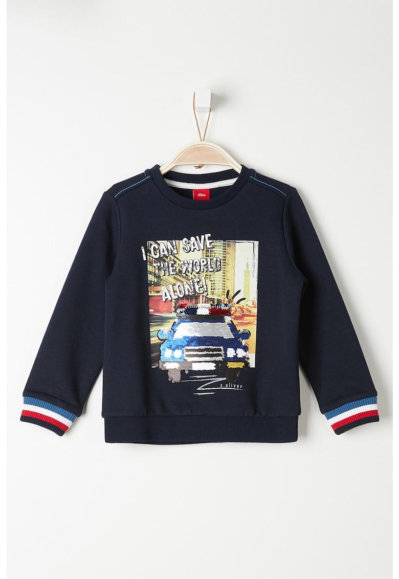 Bluza sport cu imprimeu foto si paiete