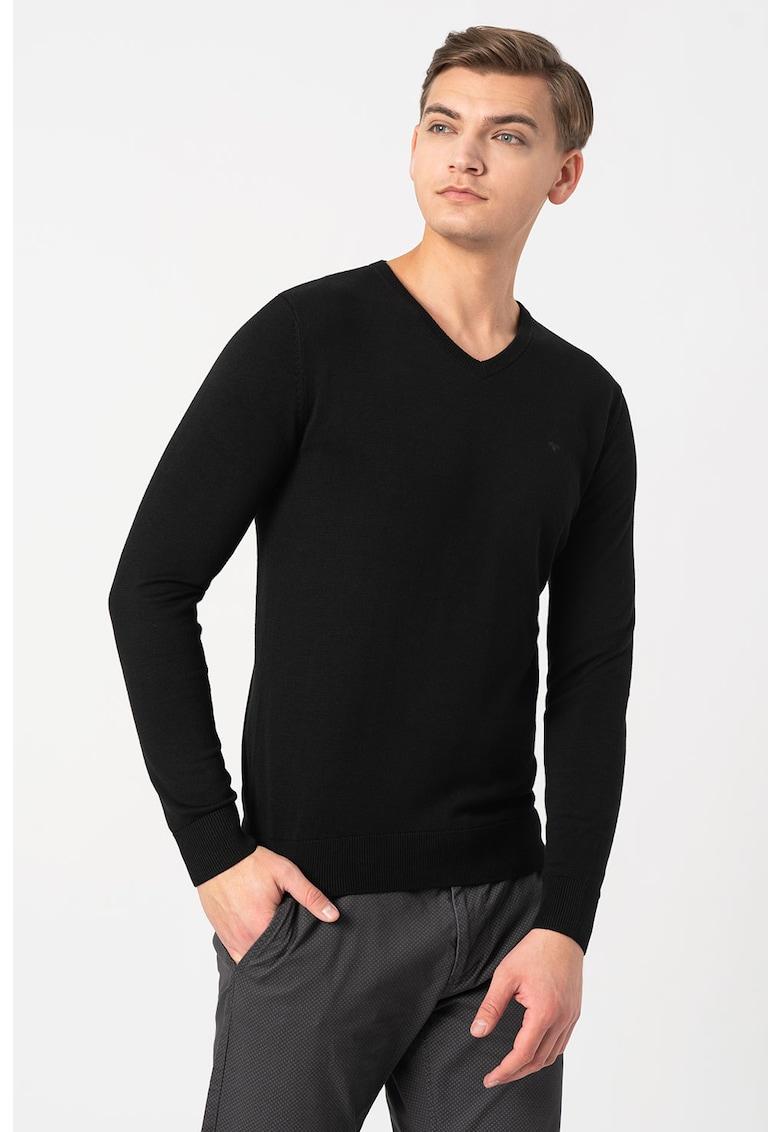 Pulover cu decolteu in V tricotat fin