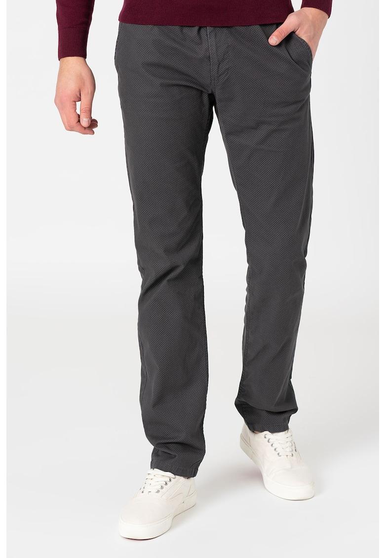 Pantaloni chino cu imprimeu si curea imagine