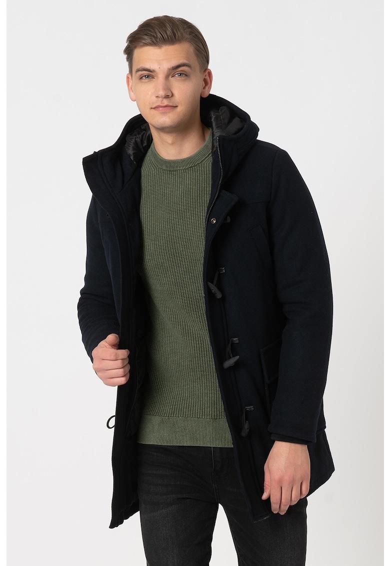 Palton din amestec de lana cu gluga