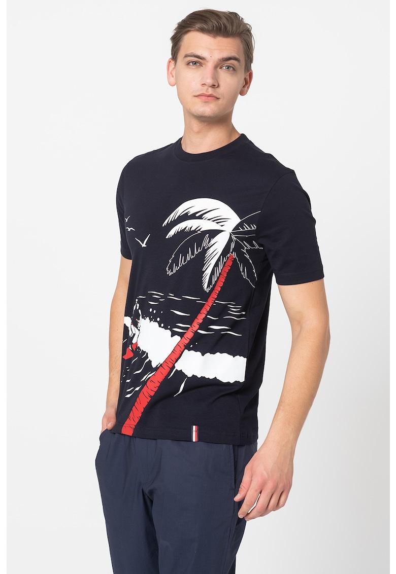 Tricou de bumbac organic cu imprimeu tropical Bărbați imagine