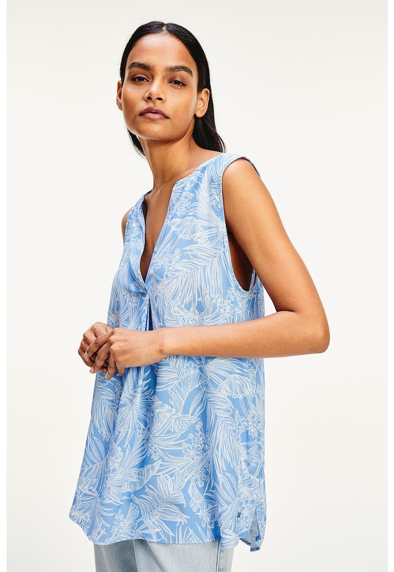 Bluza fara maneci - cu imprimeu tropical imagine