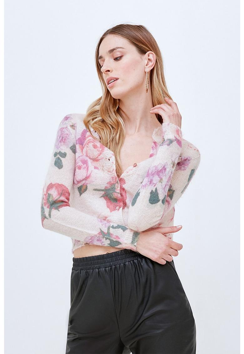 Cardigan din amestec de mohair cu model floral imagine promotie