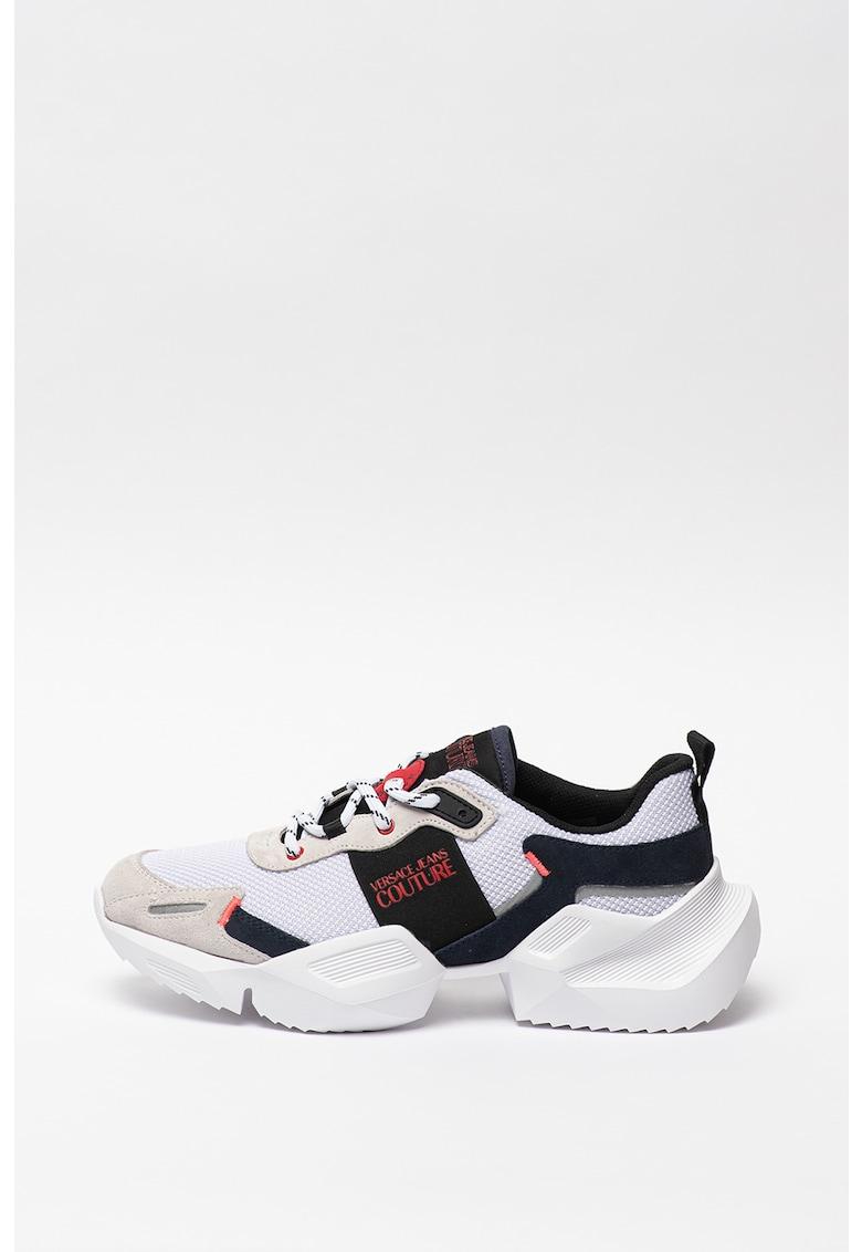 Pantofi sport cu garnituri de piele intoarsa si model colorblock