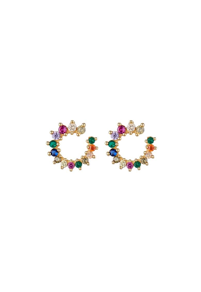 Cercei rotunzi decorati cu cristale