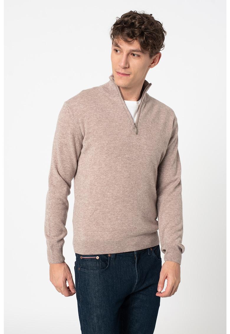 Pulover tricotat fin din casmir cu fenta cu fermoar