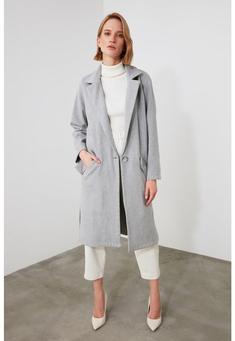 Palton lung cu revere decupate imagine