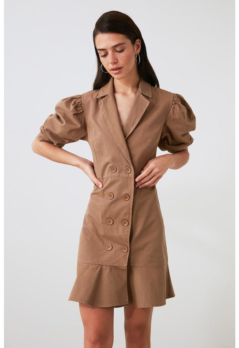 Rochie mini cu doua randuri de nasturi si maneci bufante imagine fashiondays.ro