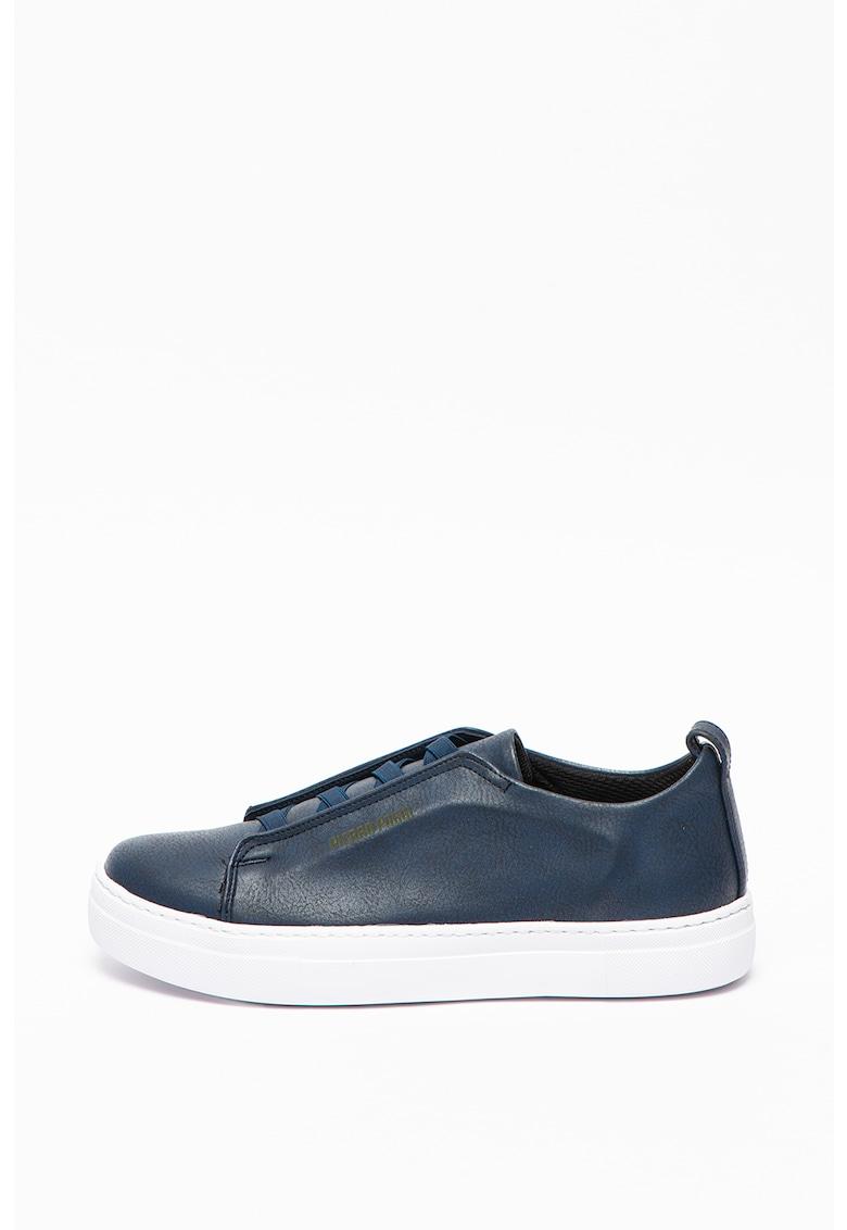 Pantofi sport de piele ecologica cu benzi elastice