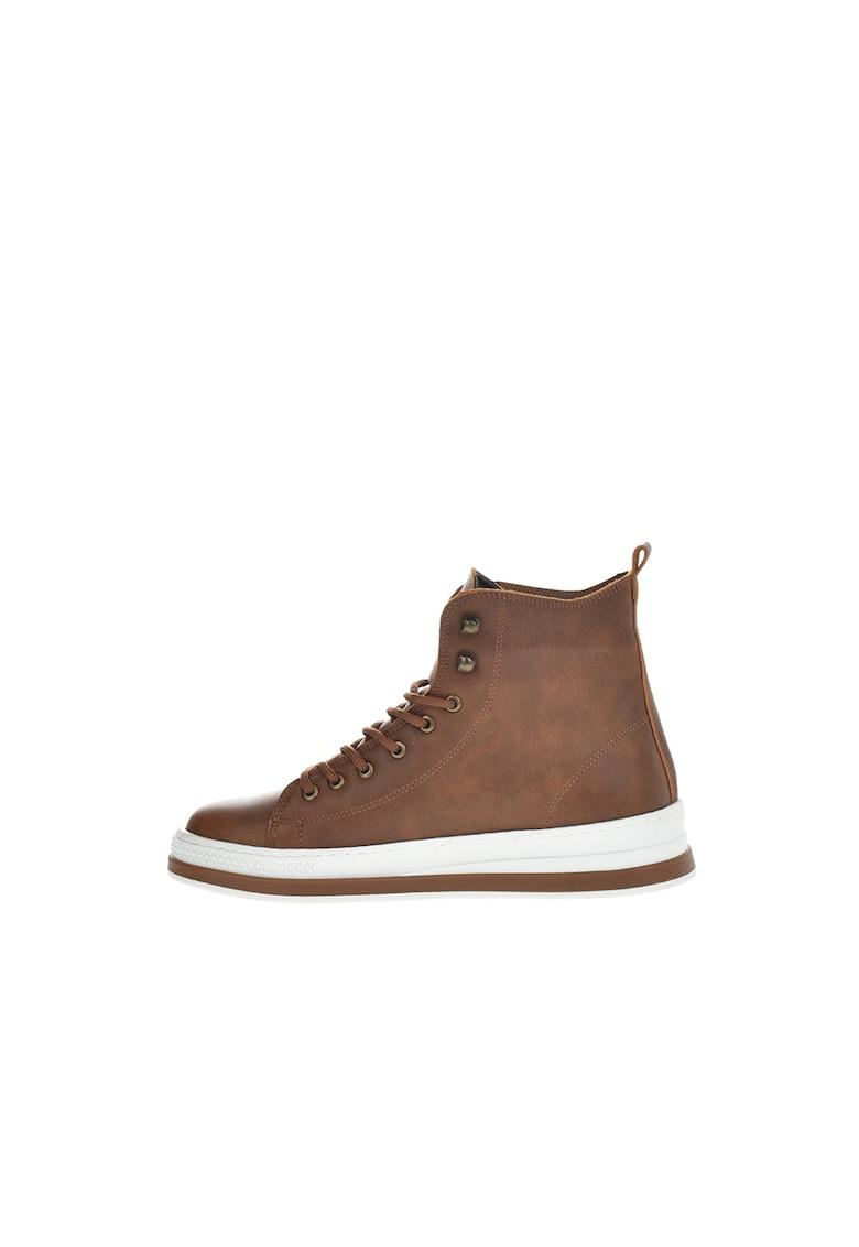 Pantofi sport de piele ecologica cu aspect patinat