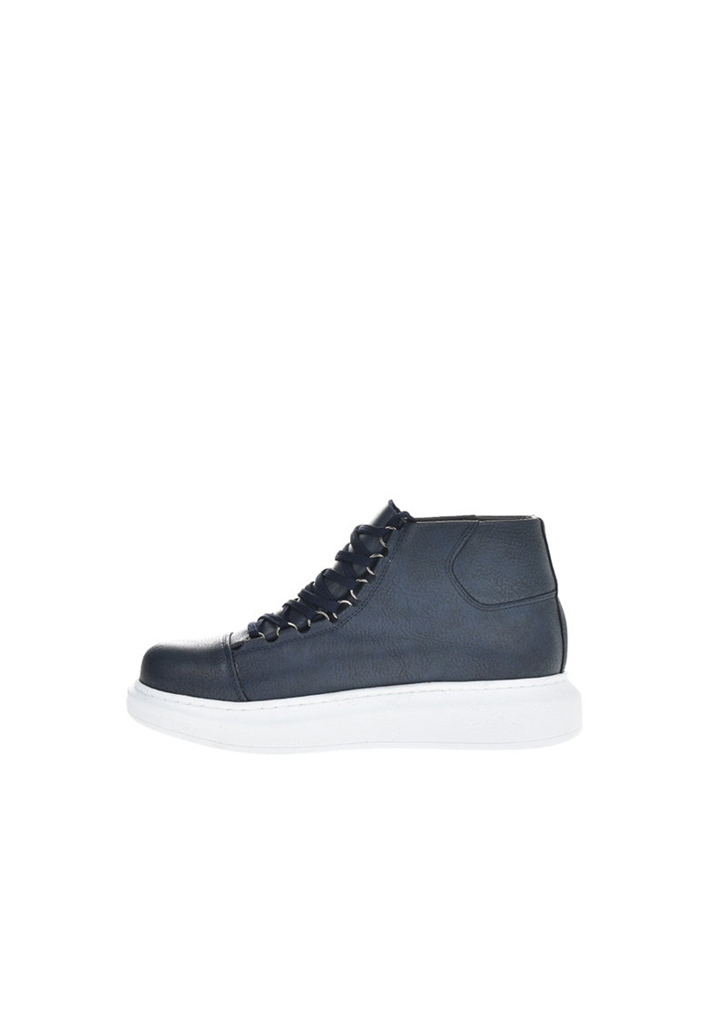 Pantofi sport mid-high de piele ecologica cu varf cap toe