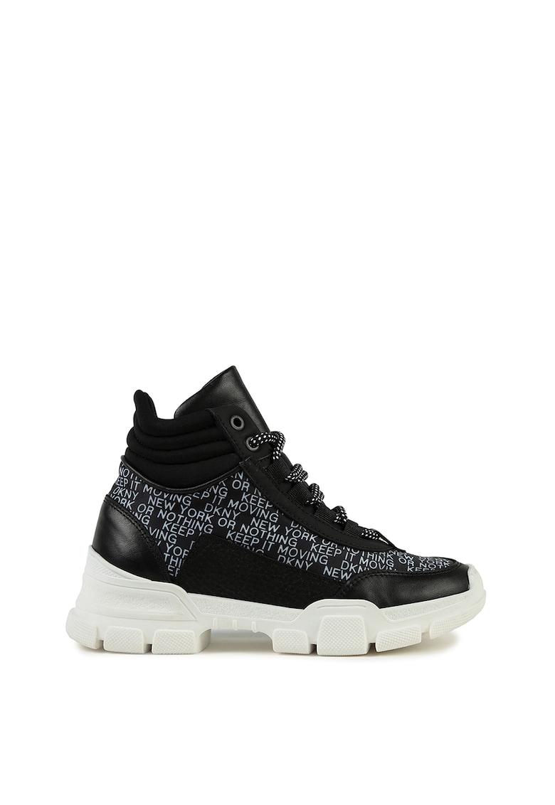 Pantofi sport din material textil si piele cu talpa wedge fashiondays.ro