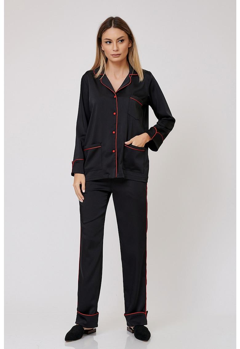 Nighters Pijama cu pantaloni lungi cu buzunare