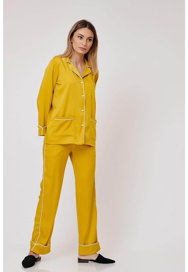 Nighters Pijama cu revere decupate si buzunare aplicate