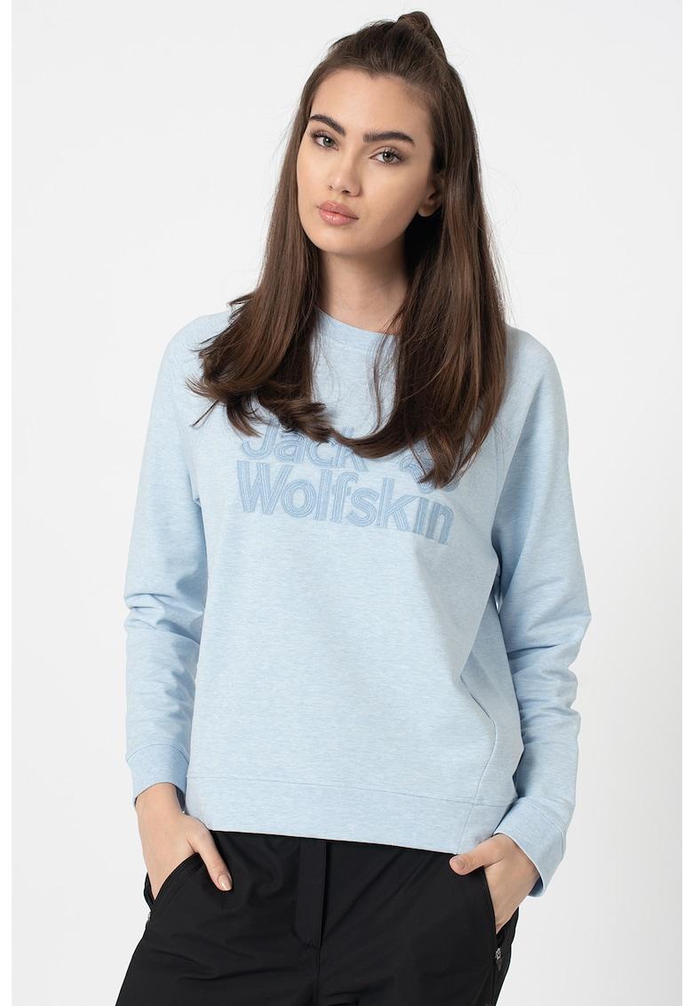 Bluza sport din amestec de bumbac organic cu logo brodat