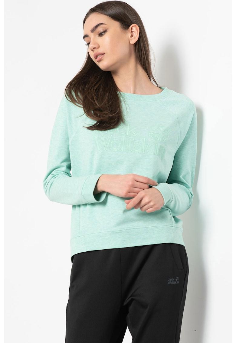 Bluza sport din amestec de bumbac organic cu logo brodat de la Jack Wolfskin
