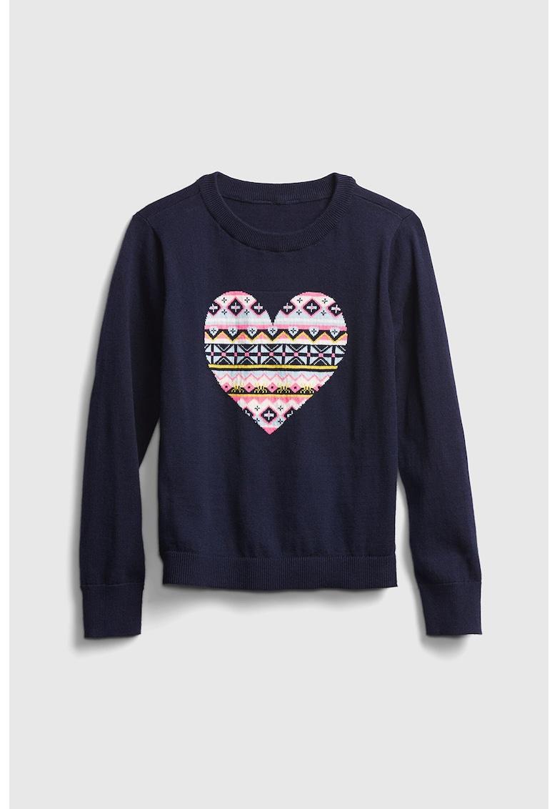 Pulover tricotat fin cu motiv in forma de inima