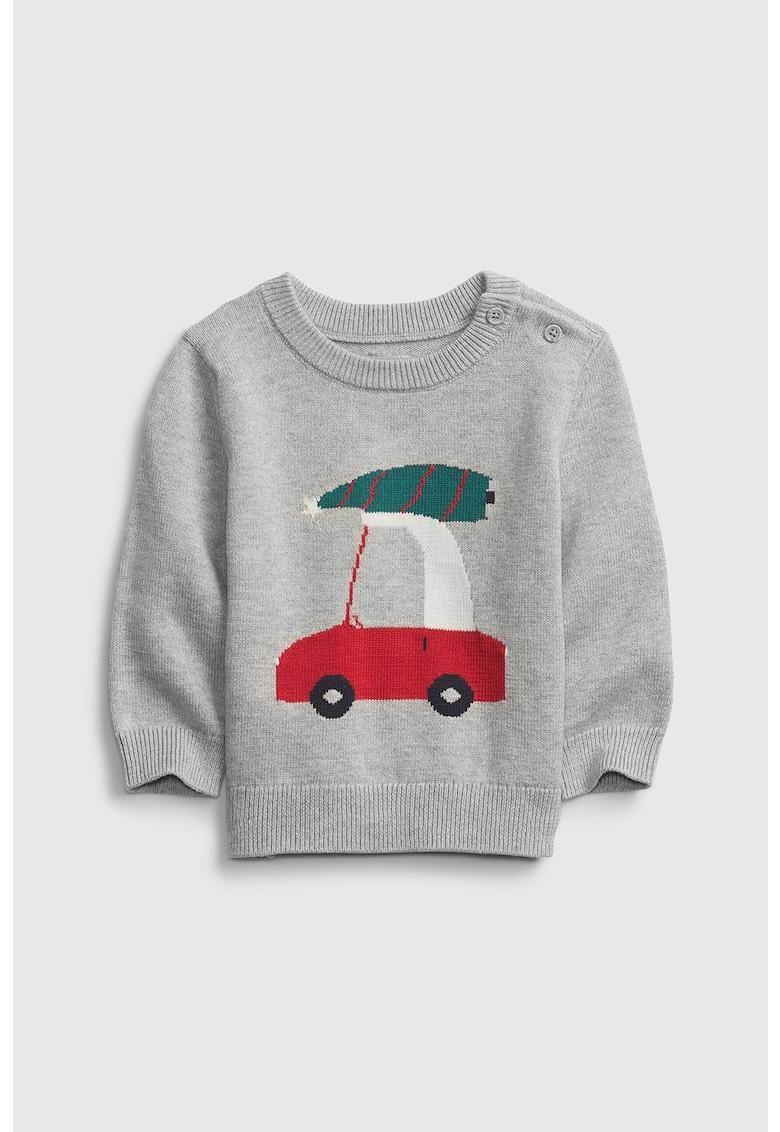 Pulover tricotat fin cu detaliu cu tematica de Craciun