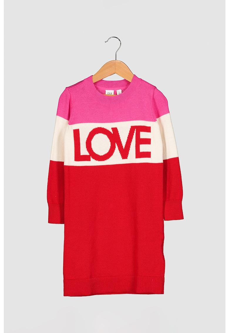 Rochie tip pulover cu model colorblock imagine promotie