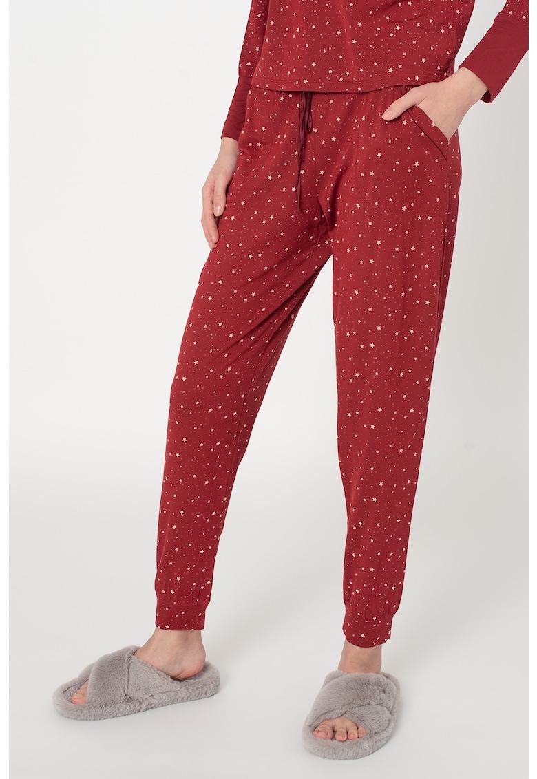Pantaloni de pijama din amestec de modal cu imprimeu imagine promotie