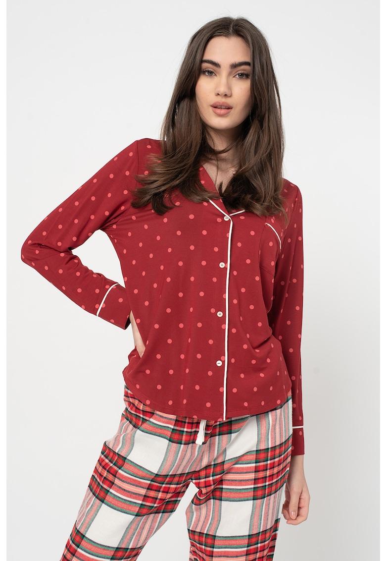 Camasa de pijama din amestec de modal cu buzunar aplicat imagine promotie