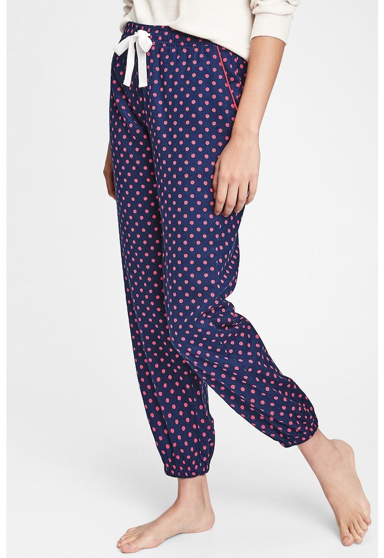 Pantaloni de pijama cu dungi si terminatie elastica