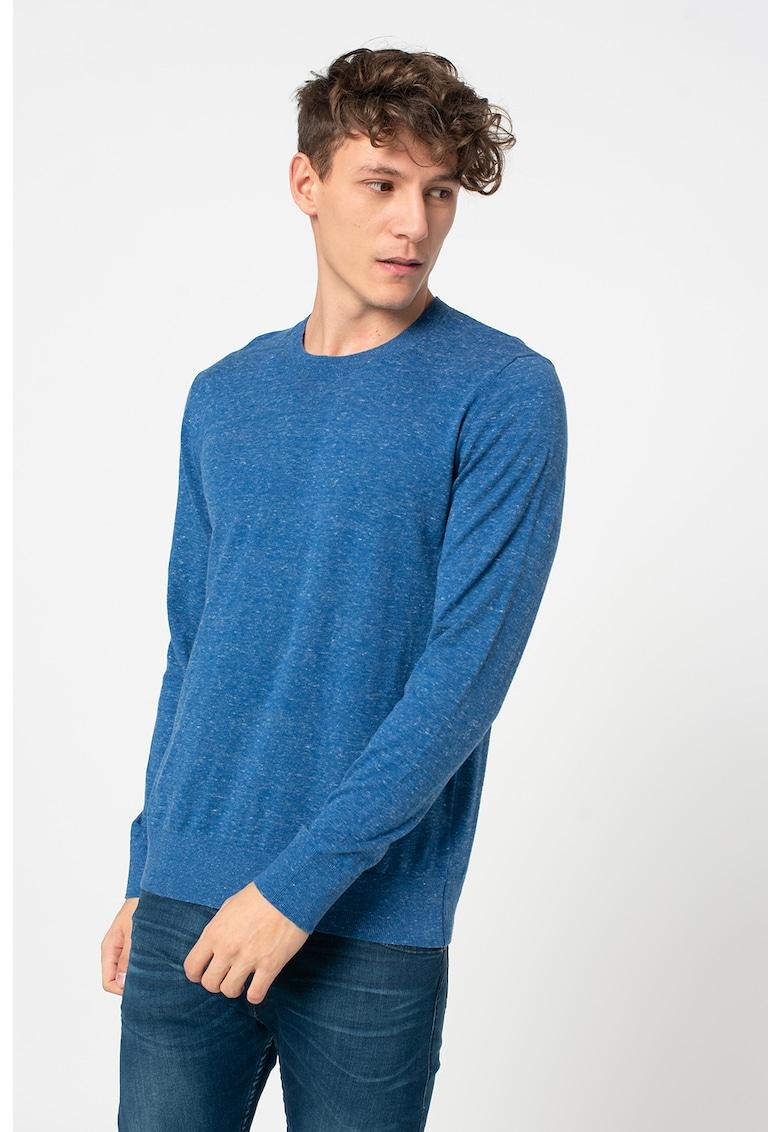 Pulover din tricot fin cu decolteu la baza gatului imagine promotie
