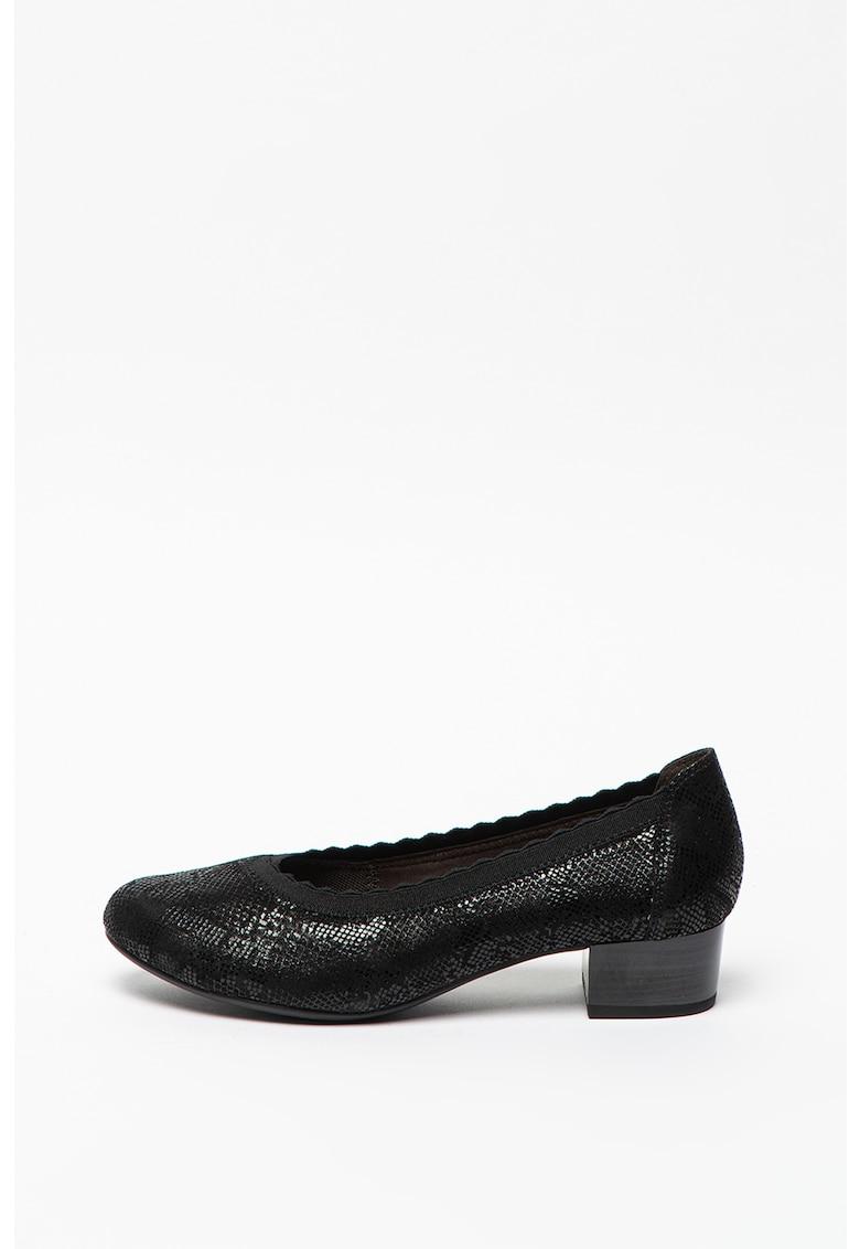 Pantofi din piele cu aspect de piele de sarpe