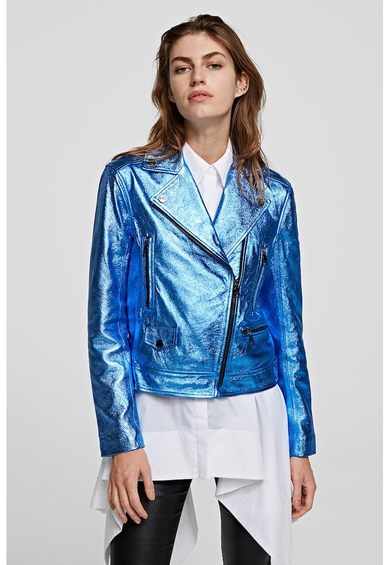 Jacheta biker din piele cu aspect metalizat