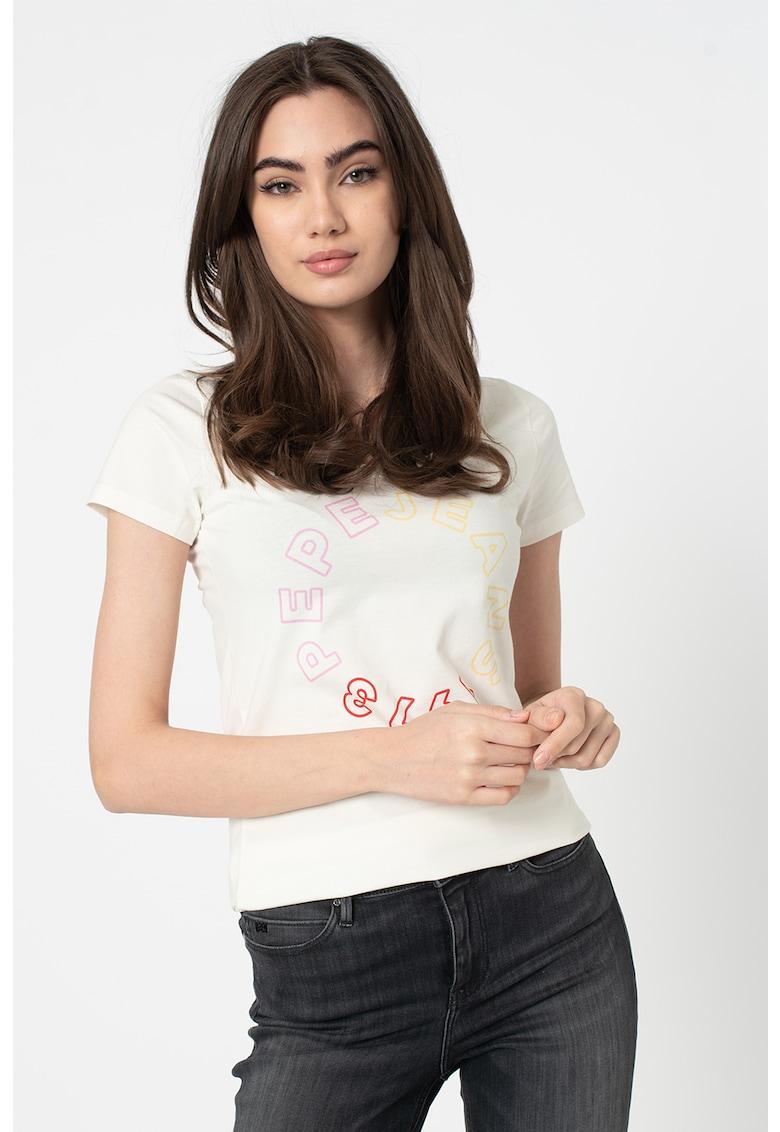Tricou cu decolteu la baza gatului si imprimeu logo Fiona imagine promotie