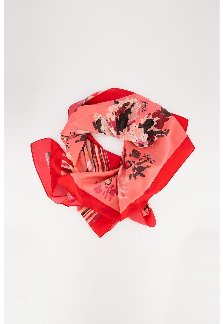 Esarfa patrata cu imprimeu floral poza fashiondays