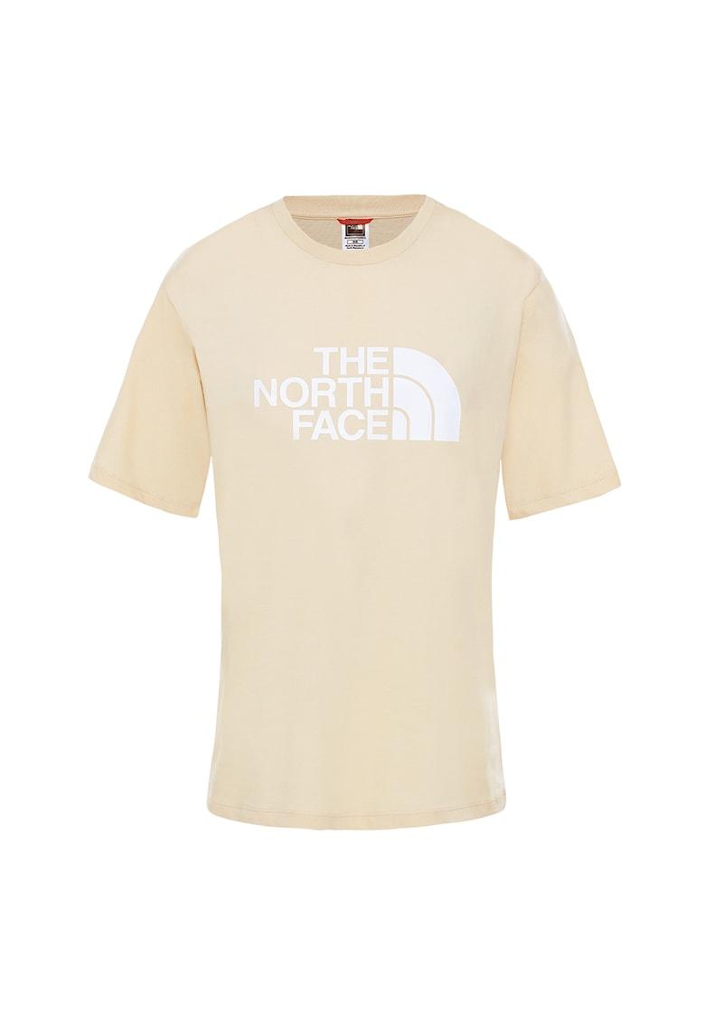 Tricou cu decolteu la baza gatului si imprimeu logo Easy imagine