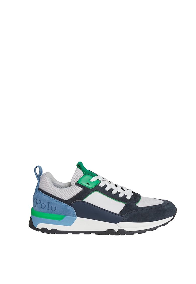 Pantofi sport cu model colorblock si insertii de piele intoarsa
