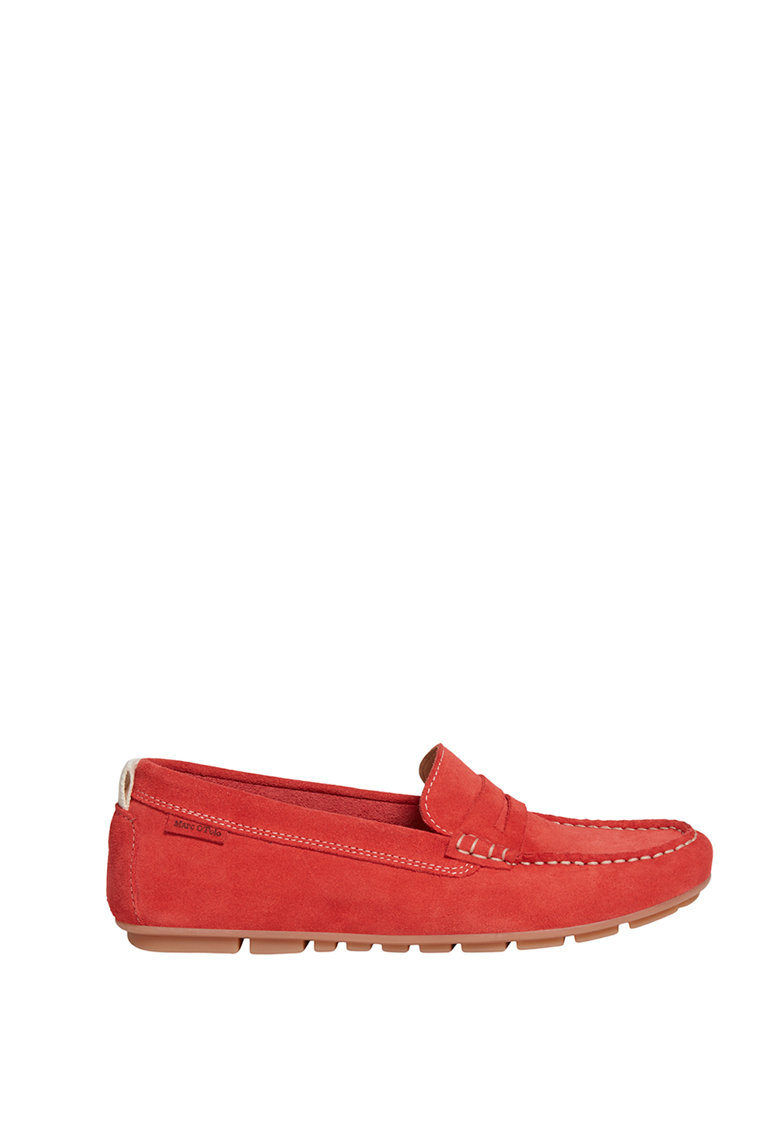 Marc OPolo Pantofi loafer Penny de piele intoarsa cu cusaturi contrastante