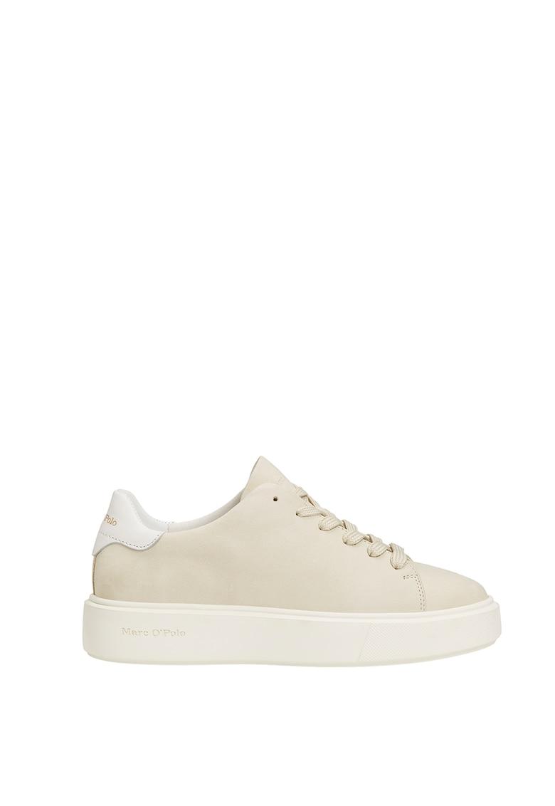 Pantofi sport flatform de piele nabuc