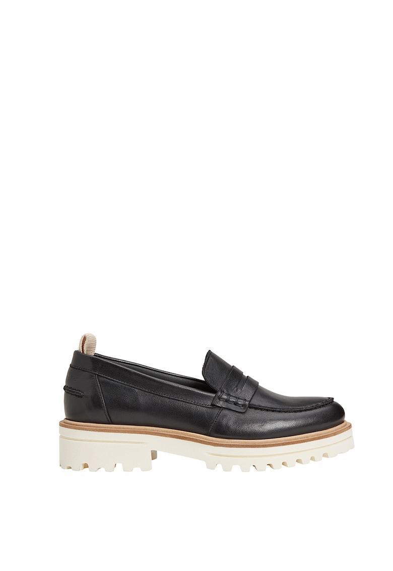 Pantofi loafer de piele cu talpa cu striatii imagine