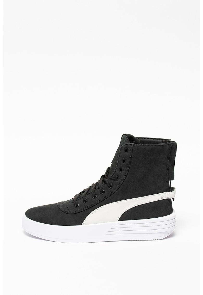 Pantofi sport unisex high-top de piele nabuc cu insertii de piele Parallel