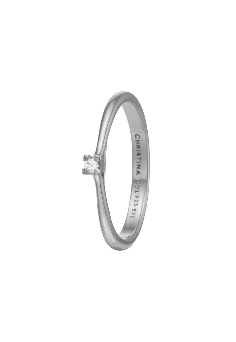 Inel de argint veritabil 925 decorat cu diamant ecologic