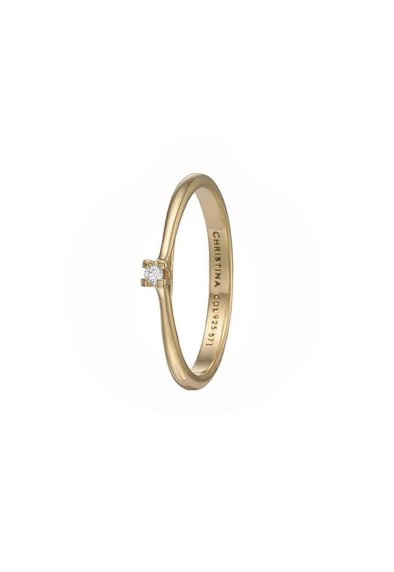Inel placat cu aur de 18K - decorat cu diamant ecologic imagine
