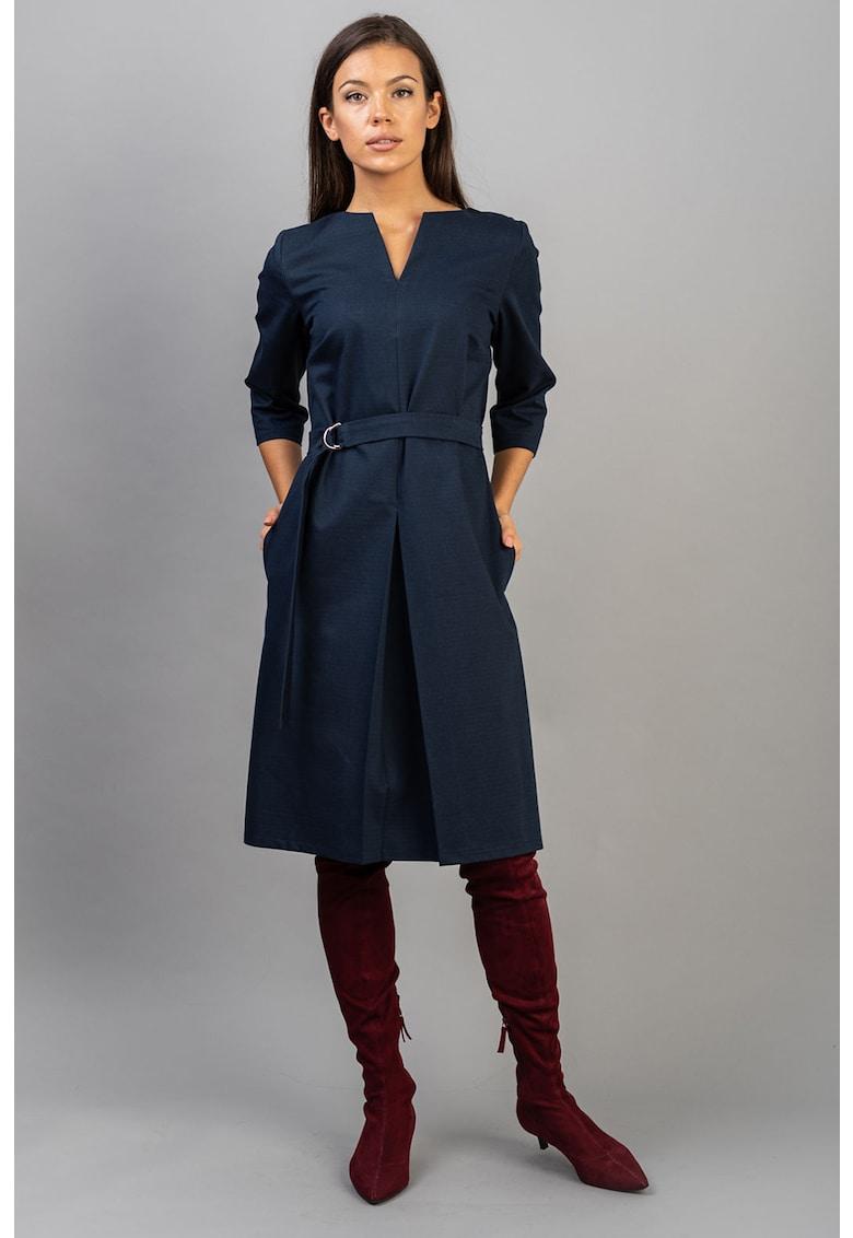 Couture de Marie Rochie midi cu decolteu in V si cordon in talie