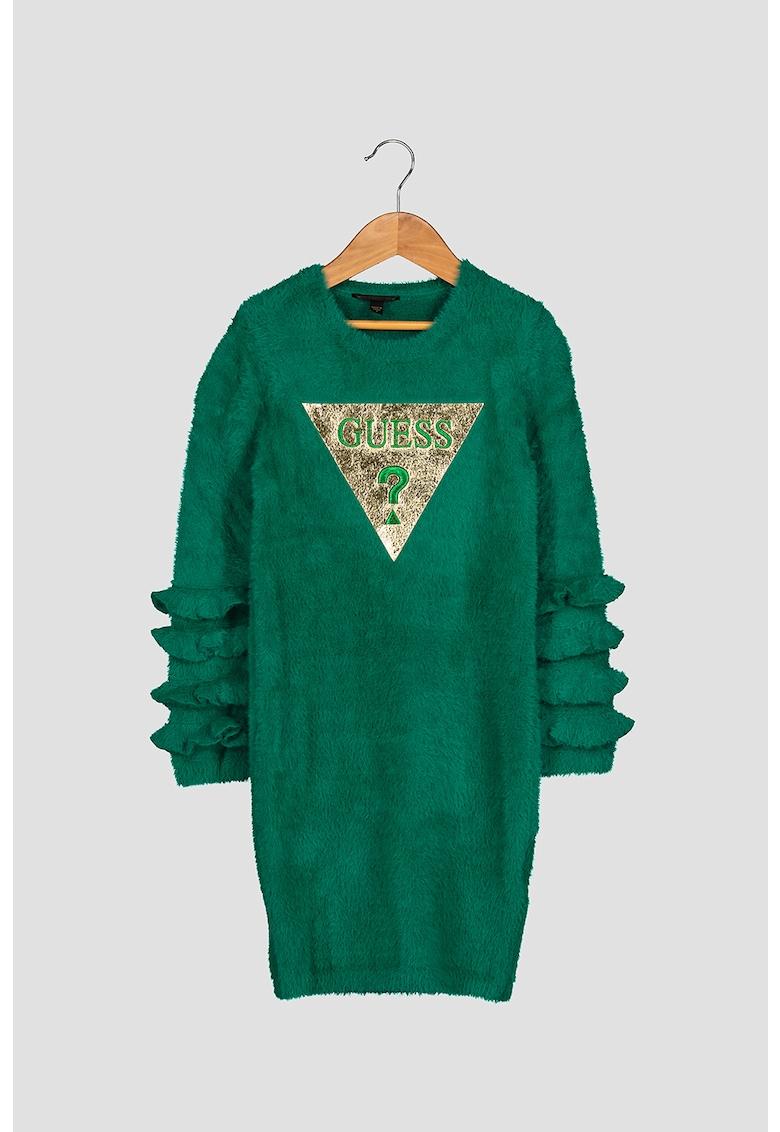 Rochie tip pulover cu aspect pufos si broderie logo triunghiulara